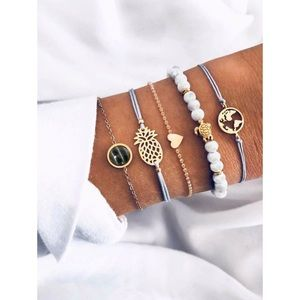 3/$30 Earth and Pineapple String Charm Bracelets